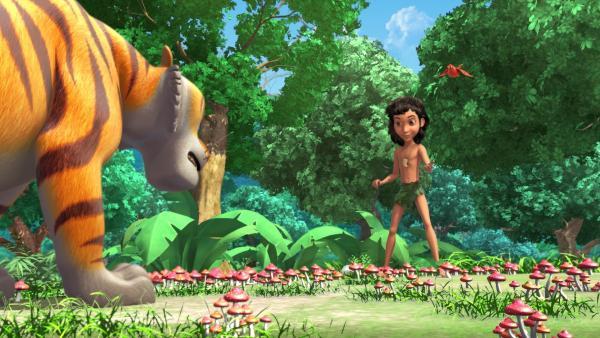 Die Freude über die bestandene Dschungelprüfung ist für Mogli (m.) und Darsi (r.) nur von kurzer Dauer, denn Shir Khan (l.) ist ihnen gefolgt. | Rechte: ZDF/DQ Entertainment