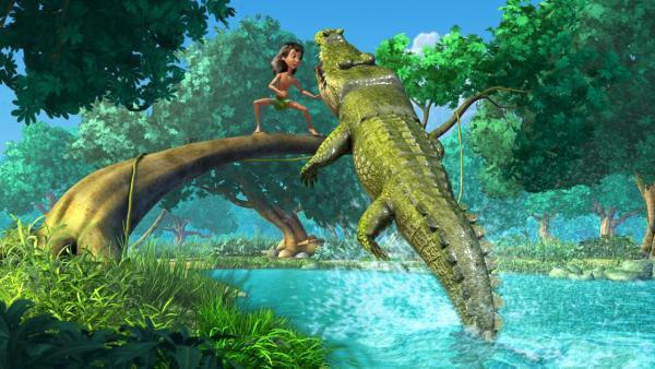 Es stellt sich heraus, dass das wilde Ungeheuer im Wasser Jakala, das Krokodil, ist. Jakala wird vor Zahnschmerzen fast verrückt. | Rechte: ZDF/DQ Entertainment