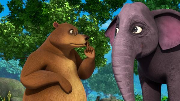 Balu und die Elefantenfrau Gayini haben ein Geheimnis. Sie planen eine Überraschung für Gayinis Ehemann Hathi. | Rechte: ZDF/2009(c) DQ Entertainment