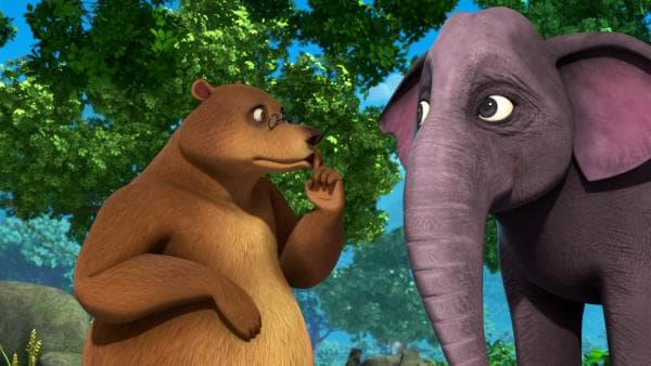 Balu und die Elefantenfrau Gayini haben ein Geheimnis. Sie planen eine Überraschung für Gayinis Ehemann Hathi.   Rechte: ZDF/2009(c) DQ Entertainment
