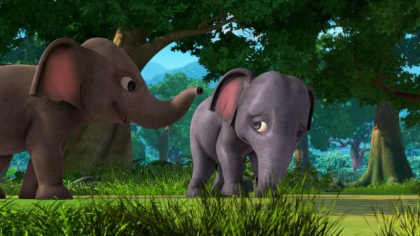 Hita, das kleine blaue Elefantenmädchen, und ihr Bruder Appu spielen mit Freunden im Dschungel. Doch Hita fühlt sich irgendwie unterlegen und hat keinen Spaß am Spiel. | Rechte: ZDF/2009(c) DQ Entertainment