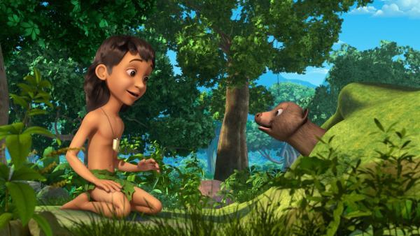 Mogli lädt die Dschungeltiere zu Maschas Party ein. Der Mungo Rikki-Tikki-Tavi freut sich, dass Mogli wohl auch auf der Party sein wird und will ebenfalls kommen.   Rechte: ZDF/2009(c) DQ Entertainment