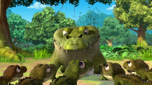 Jakala, der allein-erziehende Krokodilvater, erzählt seinen Söhnen die Legende des Regenbogen-Krokodils.   Rechte: ZDF/2009(c) DQ Entertainment