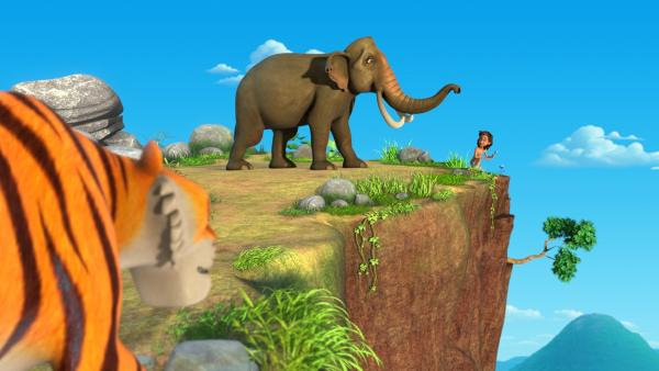 Shir Khan hat Mogli und den Elefanten Hathi bis in die Berge verfolgt. Nun muss Mogli es rechtzeitig schaffen, dem verwirrten Hathi die Blume zu bringen, damit der wieder klar im Kopf wird.   Rechte: ZDF/2009(c) DQ Entertainment
