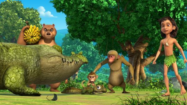 Mogli und Balu verfolgen den Krach um ihre Kinder zwischen Jakala und der Affenmutter. Das Affenkind Trikki ist mit dem kleinen Krokodil Fresserchen befreundet. Krokodil-Vater Jakala und die Affen-Mutter halten diese Freundschaft aber für gefährlich und wollen sie verbieten. | Rechte: ZDF/2009(c) DQ Entertainment