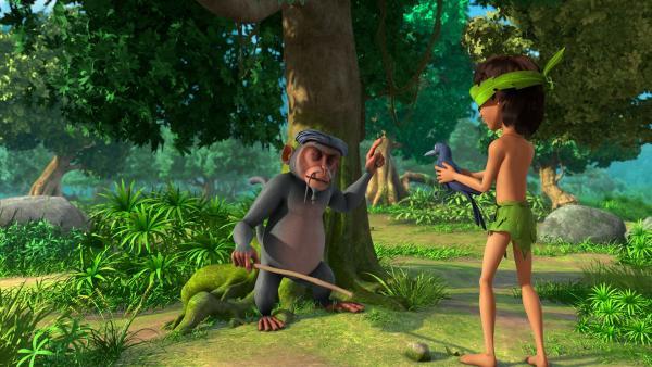 Der blinde Affe Anupam bringt Mogli bei, auch ohne Augenlicht gut durchs gefährliche Dschungelleben zu kommen. Ob Mogli rechtzeitig erkennt, dass er die hinterhältige Krähe Kallu in seinen Händen hält? | Rechte: ZDF/2009(c) DQ Entertainment