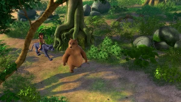 Mogli mit Rikki-Tikki auf dem Arm, Baghira und Balu machen sich auf den Weg zum gefährlichen Verbotenen Berg. Dort wollen sie Medizin für den Mungo holen - wann wird der beichten, dass er gar nicht krank ist?   Rechte: ZDF/2009(c) DQ Entertainment