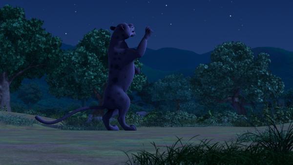 Über Nacht lernt Baghira die Namen der Sternenbilder. Dafür sagt er sie sich laut vor mit Reim und Rhythmus, so dass er anfängt dazu zu tanzen. | Rechte: ZDF/2009(c) DQ Entertainment