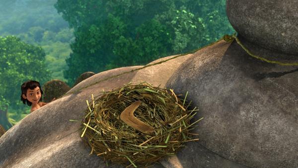 Kallu, die Krähe, hat den magischen Stock geklaut und in ihr Nest gelegt. So lockt sie Mogli auf das Dach des Tempels, um ihn dann hier an Shir Khan auszuliefern. | Rechte: ZDF/2009(c) DQ Entertainment