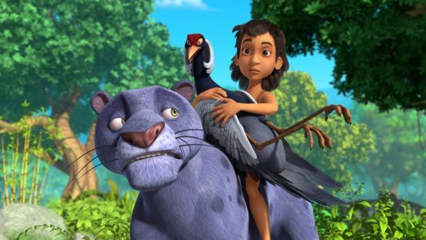Aliona, eine Kranichfrau, hat den Abflug ihres Schwarms verpasst und muss nun im Dschungel bleiben. Mogli und Baghira helfen ihr, ein passendes Zuhause zu finden. Doch Aliona ist ziemlich wählerisch. | Rechte: ZDF/2009(c) DQ Entertainment