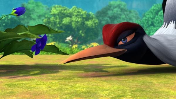 Die Kranichfrau Aliona schnuppert an einer Alraunenpflanze. Das wird Folgen haben. Kurz darauf fängt sie an zu halluzinieren, dass sie sich in Shir Khan verliebt habe. Sie gerät in einen gefährlichen Liebeswahn. | Rechte: ZDF/2009(c) DQ Entertainment