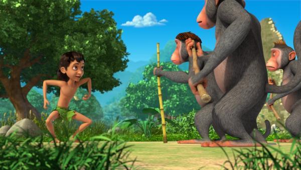Mogli versucht die Affen zu überzeugen, ihn auch auf ihre Party einzuladen. Aber die Affen bleiben stur, sie wollen ihre Party allein feiern.   Rechte: ZDF/2009(c) DQ Entertainment