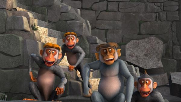 Die unberechenbare Affenbande hat es auf Mogli abgesehen. | Rechte: ZDF/DQ Entertainment