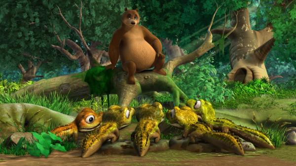 Die fünf jungen Krokodile sind von Balus spannender Geschichte begeistert.   Rechte: ZDF/DQ Entertainment