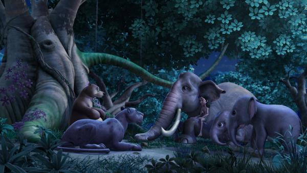 Baghira, Balu, Hathi und die Elefantenkinder (v.li.n.re.) sind gespannt, ob Mogli (4.v.li.) herausgefunden hat, wer das mutigste Tier im Dschungel ist. | Rechte: ZDF/DQ Entertainment