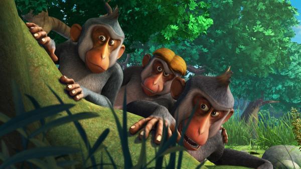 Die Affenbande ist entsetzt: Sie hat das Funkelding verloren. | Rechte: ZDF/DQ Entertainment
