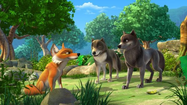 Tabaqui will die Wolfsgeschwister Bala und Lali als Köder zu Shir Khans Höhle locken. | Rechte: ZDF/DQ Entertainment