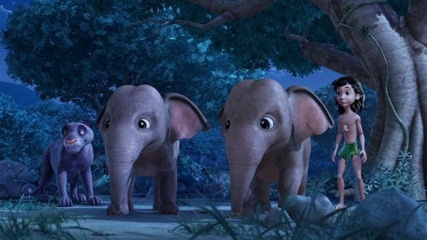 Baghira, Mogli und die Elefantengeschwister Hita und Appu sind entsetzt, weil Shir Khan auftaucht. | Rechte: ZDF/DQ Entertainment