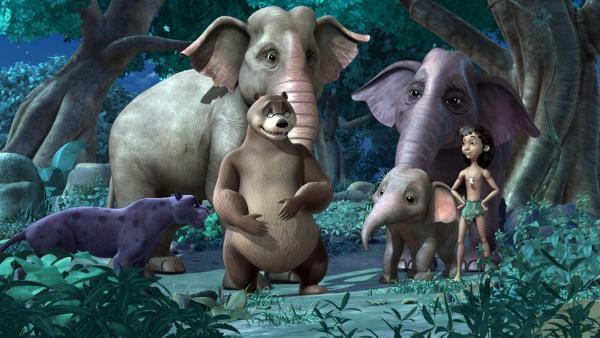 Die Rettung ist gelungen! Die Elefanteneltern, Baghira, Balu und Mogli freuen sich mit Appu.   Rechte: ZDF/DQ Entertainment