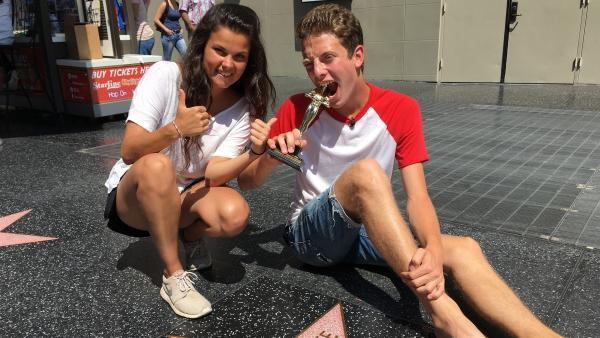 Bin ich ein Star oder was? Louisa und Philipp sind in Los Angeles angekommen. Wer ist schon alles auf dem Walk of Fame verewigt? | Rechte: ZDF/Georg Bussek