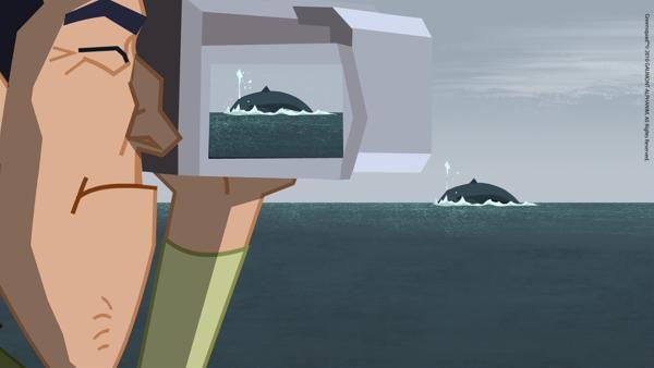 In Island beobachtet das Green Team Wale.   Rechte: KiKA/Gaumont-Alphanim