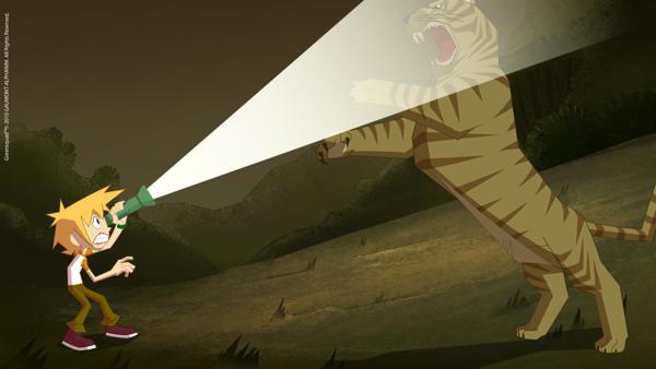Julian kann in letzter Sekunde einem Tiger entkommen. | Rechte: KiKA/Gaumont-Alphanim
