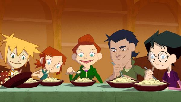 Das Green Team beim gemeinsamen Abendessen | Rechte: KiKA/Gaumont-Alphanim