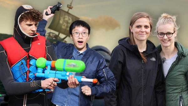 Das Zockerhaus: Finn-Luca und Lenny halten eine Wasserpistole während Soccer Anna und Anna gespannt schauen. | Rechte: Frank Hempel