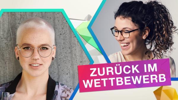 Online-Jurorin Stefanie Heinz und Web-Reporterin Leontina | Rechte: Heinzmann-Productions GmbH; André D. Conrad; KiKA