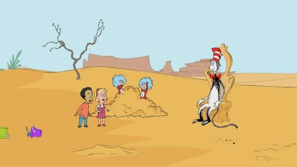 Der Sand in der Flirrediflirr-Wüste ist leider zu trocken um daraus etwas zu bauen. | Rechte: KiKA/Collingwood O'Hare Prod./Portfolio Entertain./Random House Children E./Treehouse TV