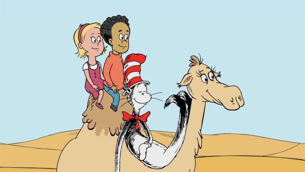 Die Freunde lassen sich von einem Dromedar durch die Wüste tragen. | Rechte: KiKA/Collingwood O'Hare Prod./Portfolio Entertain./Random House Children E./Treehouse TV