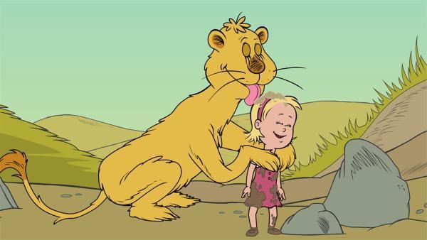 Leona leckt Sally sauber. | Rechte: KiKA/Collingwood O'Hare Prod./Portfolio Entertain./Random House Children E./Treehouse TV