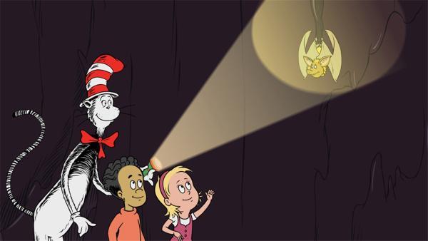 Der Kater hat Sally und Nick in die Höhle von Los Echos del Tropf eingeladen und stellt ihnen seinen Freund Zapata vor. | Rechte: KiKA/Collingwood O'Hare Prod./Portfolio Entertain./Random House Children E./Treehouse TV