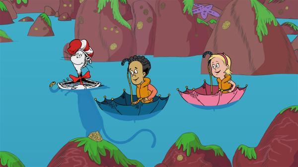 Diesmal führt der Kater mit Hut Sally und Nick zum Strudel-Wudel-Meer. | Rechte: KiKA/Collingwood O'Hare Prod./Portfolio Entertain./Random House Children E./Treehouse TV