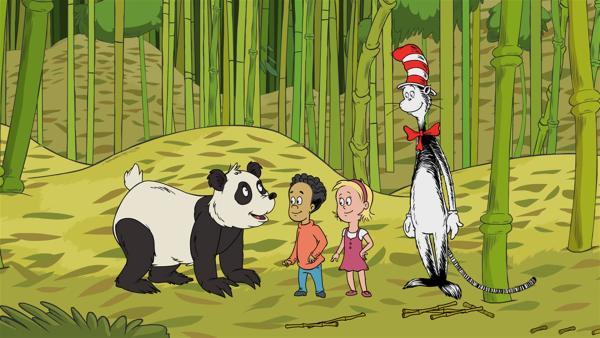 Um herauszufinden, was Pandas mögen, fliegen die Freunde zu Pandabärin Shu-Shu. | Rechte: KiKA/Collingwood O'Hare Prod./Portfolio Entertain./Random House Children E./Treehouse TV