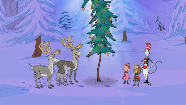 Der Kater mit Hut feiert mit seinen Freunden Weihnachten.  | Rechte: KiKA/Collingwood O'Hare Productions/Portfolio Entertain. Inc./Random House Children E./Treehouse TV