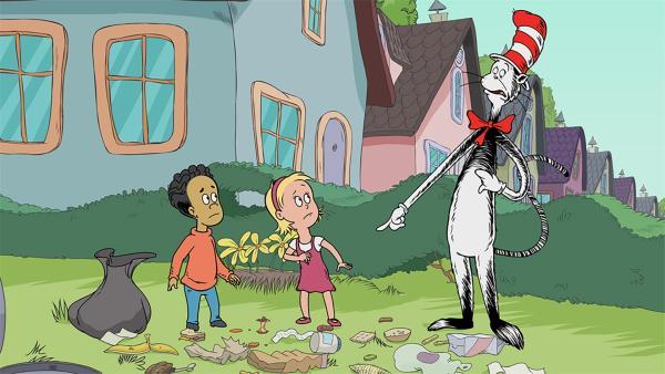 Der Kater mit Hut ekelt sich mit Nick und Sally vor einem faulen Apfelgehäuse.    | Rechte: KiKA/Collingwood O'Hare Prod./Portfolio Entertain./Random House Children E./Treehouse TV
