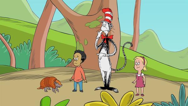 Das Dreibinden-Gürteltier Louis kann tolle Purzelbäume schlagen. Daneben Nick, der Kater mit Hut und Sally.   | Rechte: KiKA/Collingwood O'Hare Prod./Portfolio Entertain./Random House Children E./Treehouse TV