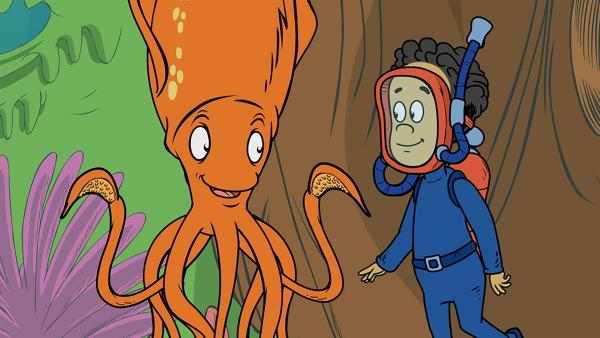 Sid, der Tintenfisch, zeigt Nick, dass er eine andere Farbe annehmen kann | Rechte: KiKA/Collingwood O'Hare Prod./Portfolio Entertain./Random House Children E./Treehouse TV