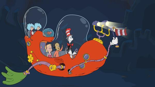 In den Tiefen des Meeres ist es dunkel. Der Kater mit Hut und seine Freunde Ding 1 und Ding 2, Fisch, Nick und Sally brauchen Licht.   | Rechte: KiKA/Collingwood O'Hare Prod./Portfolio Entertain./Random House Children E./Treehouse TV