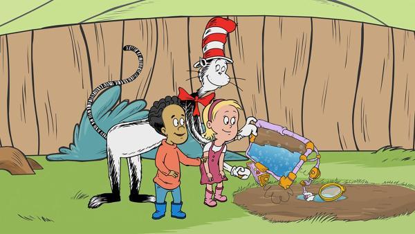 Der Kater mit Hut zeigt Nick und Sally vergrößert Wasserteilchen, die in der Sonne nach oben steigen  | Rechte: KiKA/Collingwood O'Hare Prod./Portfolio Entertain./Random House Children E./Treehouse TV