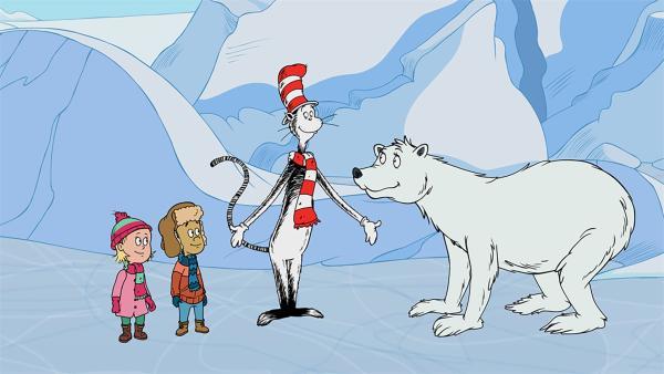 Eisbärin Polly zeigt Nick, Sally und dem Kater mit Hut, dass es viele Arten von Eis gibt.  | Rechte: KiKA/Collingwood O'Hare Prod./Portfolio Entertain./Random House Children E./Treehouse TV
