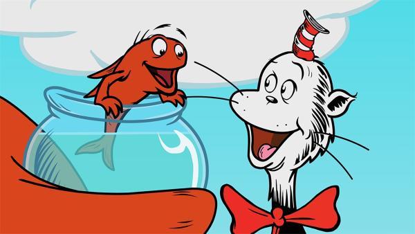 Da muss Fisch lachen: Der Hut des Katers ist ganz klein!  | Rechte: KiKA/Collingwood O'Hare Prod./Portfolio Entertain./Random House Children E./Treehouse TV