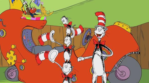 Der Kater mit Hut stellt seine drei kleinen Cousins vor.   Rechte: KiKA/Collingwood O'Hare Prod./Portfolio Entertain./Random House Children E./Treehouse TV
