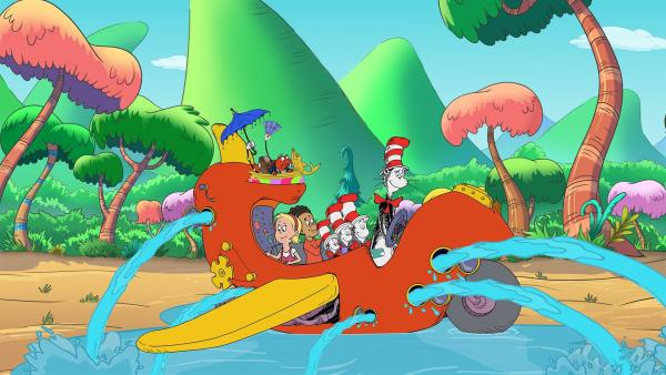Der Abflug verschiebt sich: das Dingemadingsda ist leider mit Wasser vollgelaufen.   Rechte: KiKA/Collingwood O'Hare Prod./Portfolio Entertain./Random House Children E./Treehouse TV