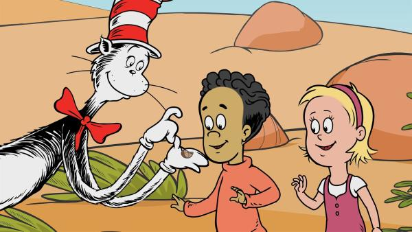 Der Kater mit Hut präsentiert eine Überraschungsbohne. | Rechte: © KiKA//Portfolio Entertainment