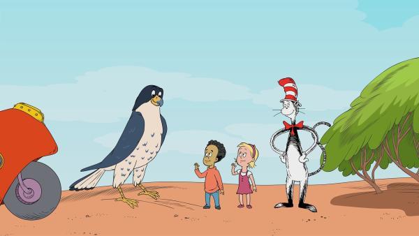 Der Wanderfalke Wilhelm will den Kindern zeigen wie man fliegt. | Rechte: © KiKA//Portfolio Entertainment