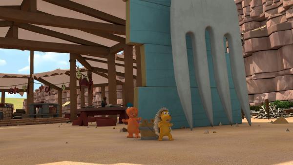 Kokosnuss und Matilda wollen den Fressdrachen nicht in die Arme laufen. | Rechte: ZDF/Caligari Film