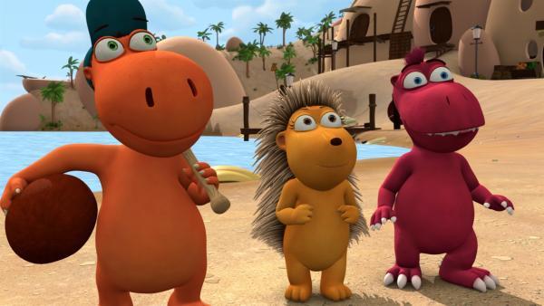 Kokosnuss, Matilda und Oskar können das nächste Spiel gar nicht abwarten.   Rechte: ZDF/Caligari Film