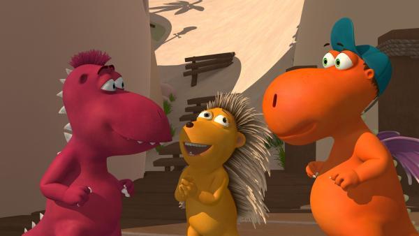 Oskar, Matilda und Kokosnuss halten Babysitten für ein Kinderspiel.   Rechte: ZDF/Caligari Film